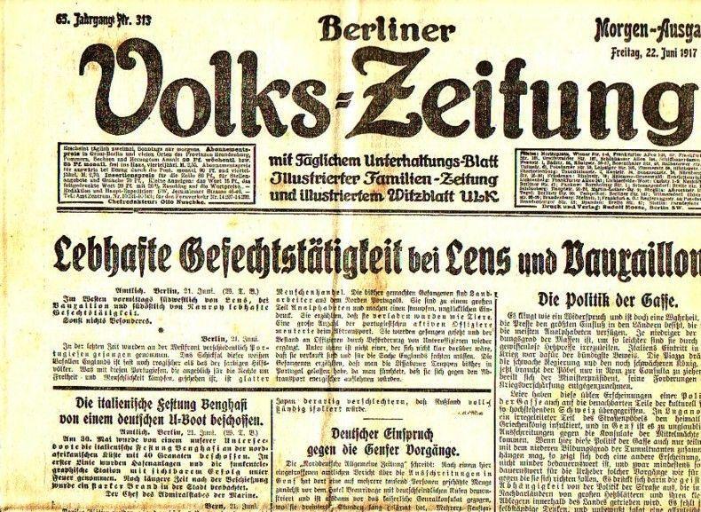 Berliner Volkszeitung. Morgen-Ausgabe. Freitag, 22. Juni 1917,: Volks-Zeitung, Berliner. -