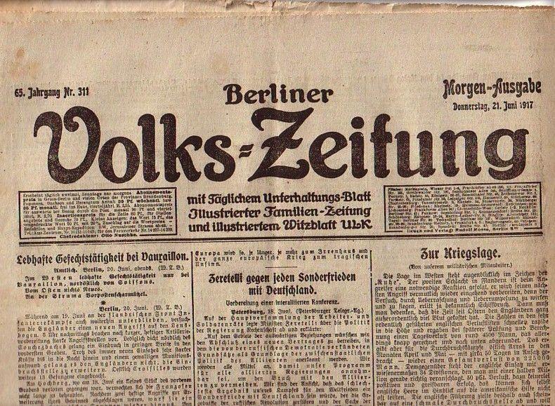 Berliner Volkszeitung. Morgen-Ausgabe. Donnerstag, 21. Juni 1917,: Volks-Zeitung, Berliner. -