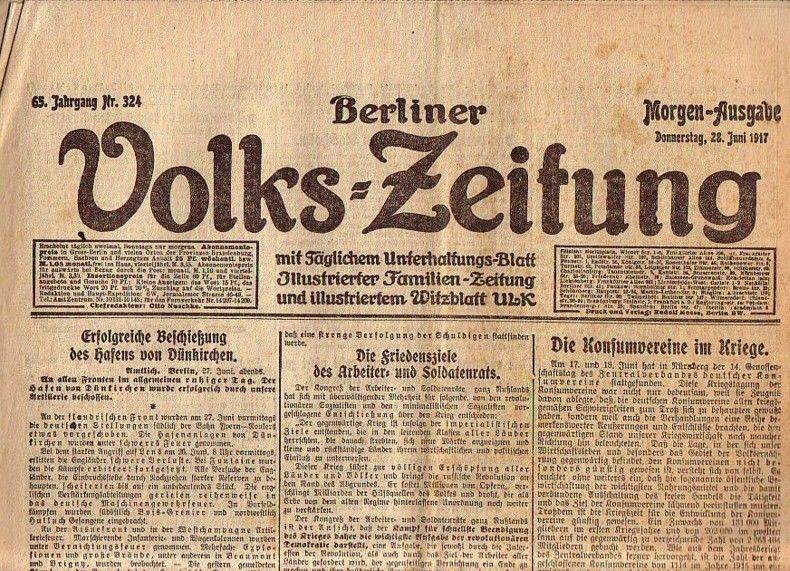 Berliner Volkszeitung. Morgen-Ausgabe. Donnerstag, 28. Juni 1917,: Volks-Zeitung, Berliner. -