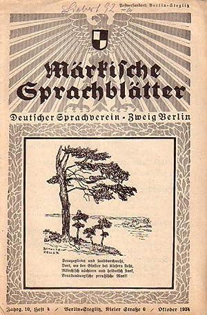 Märkische Sprachblätter. Deutscher Sprachverein. Zweig Berlin. Jahrgang: Märkische Sprachblätter. -