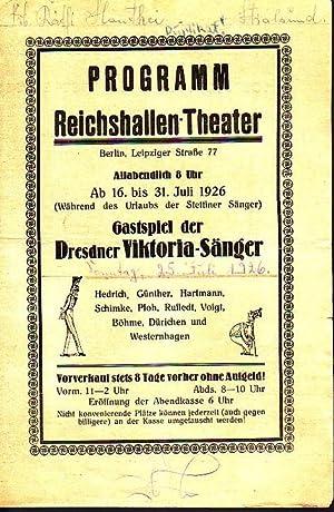 Programm Reichshallen - Theater, Berlin, Leipziger Straße: Berlin Reichshallentheater. -