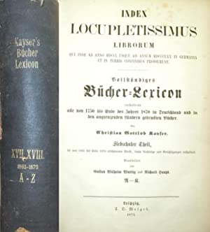 1865 -1870. - Index Locupletissimus Librorum Qui: Kayser, Christian Gottlob