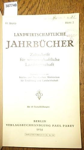 Landwirtschaftliche Jahrbücher. Zeitschrift für wissenschaftliche Landwirtschaft. 83.: Landwirtschaftliche Jahrbücher. -