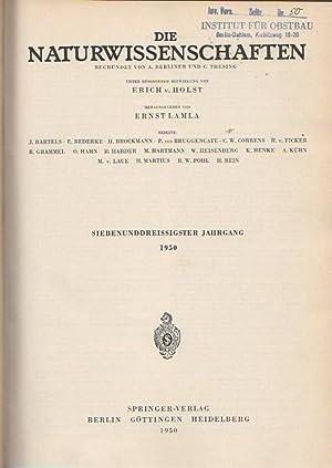 Die Naturwissenschaften. Siebenunddreissigster (37.) Jahrgang 1950, komplett: Naturwissenschaften, Die. -