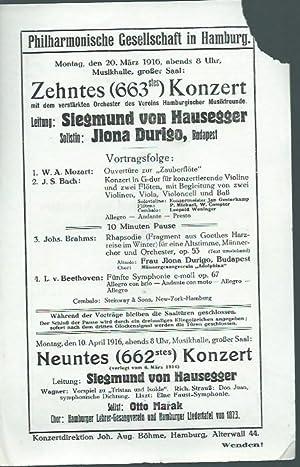 Zehntes (663stes) Konzert am 20. März 1916: Musikhalle Hamburg. -