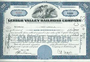 Lehigh Valley Railroad Company. This Certificate is transferable in the City of New York or in Be...