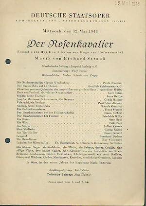 Besetzungszettel 'Der Rosenkavalier. Komödie für Musik in: Deutsche Staatsoper, Admiralspalast,