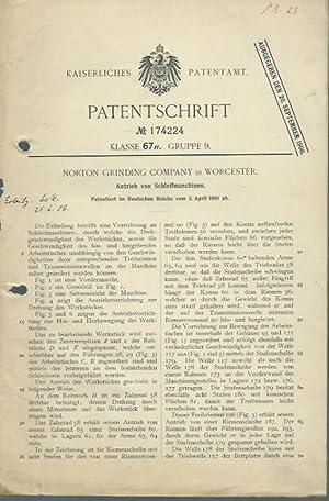Patentschrift Nr. 174224 Klasse 67 a, Gruppe: Norton Grinding Company