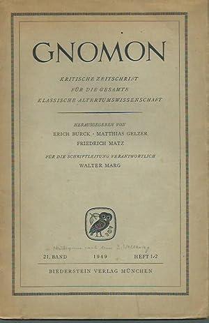 Gnomon. Kritische Zeitschrift für die gesamte klassische: Gnomon. - Herausgegeben