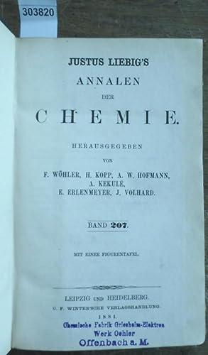 Justus Liebig's Annalen der Chemie 1881. Band 207 -208. Zwei Teile mit jeweils 3 Heften in ...