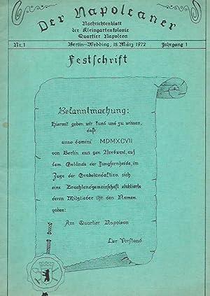 Der Napoleaner. Jahrgang 1, Nr. 1, Berlin-Wedding,: Napoleaner, Der. -