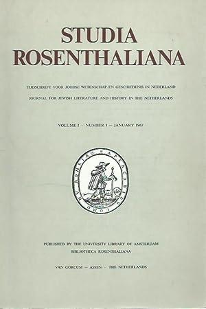 Studia Rosenthaliana. Volume 1, Nummer 1, January: Studia Rosenthaliana. -