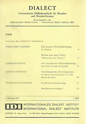 Dialect. Jahrgang 1, Heft 1, 1977. Internationale: Dialect. - Fernand