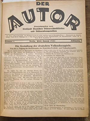 Der Autor. Doppelband. Jahrgang 9, 1934 und: Autor, Der. -