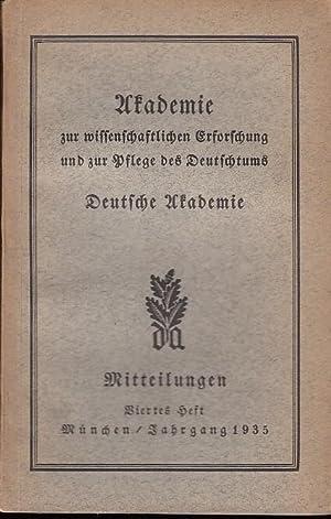 Mitteilungen Heft Nr. 4 Dezember, Jahrgang 1935.: Mitteilungen Deutsche Akademie,