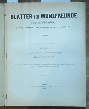Blätter für Münzfreunde. V. ( 5. ): Blätter für Münzfreunde.