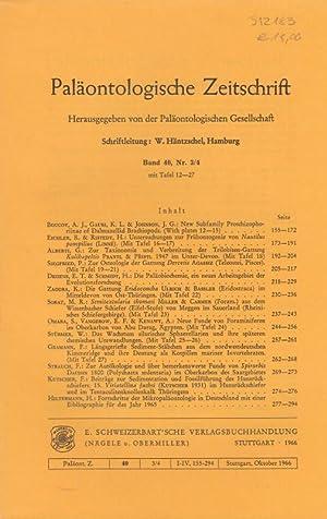 Paläontologische Zeitschrift. Band 40, Nr. 3/4 mit: Paläontologische Zeitschrift. -