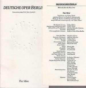 Der Idiot. Spielzeit 1982. Inszenierung Valery Panow.: Deutsche Oper Berlin.