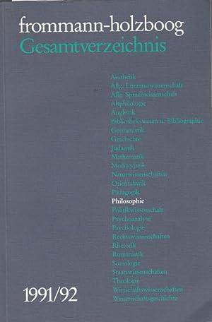 frommann - holzboog. Gesamtverzeichnis. 1991 / 1992.: Frommann - Holzboog.