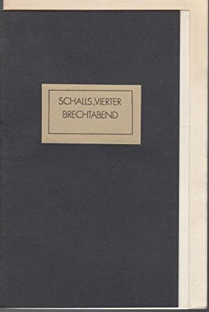1. Schalls vierter Brechtabend. 14. Spielzeit 1989.: Berlin. Tip. -