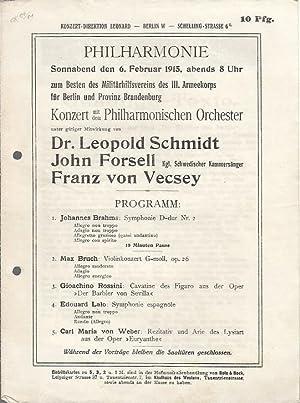 Konzert mit dem Philharmonischen Orchester am Sonnabend,: Philharmonie. - Berlin.