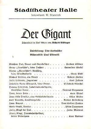 Stadttheater Halle - Der Gigant. Herausgegeben vom: Stadttheater Halle -