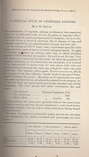 A chemical study of vegetable albinism. Reprinted: Church, A.H.