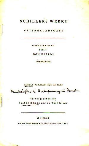 Don Karlos. Handschriften der Theaterfassung in Jamben.: Böckmann, Paul und