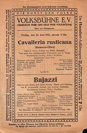 Cavalleria rusticana (Bauern-Ehre). Oper ein einem Aufzug.: Mascagni, Pietro und