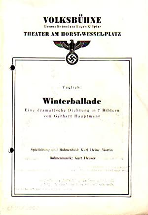 Winterballade. Eine dramatische Dichtung in 7 Bildern.: Hauptmann, Gerhart: