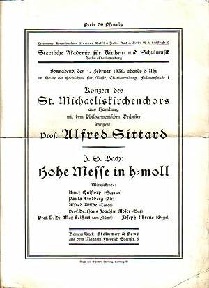 Programmzettel zum Konzert des St. Michaeliskirchenchors aus: Bach:
