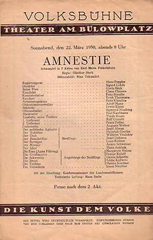 Programm - Heft zu 'Amnestie'. Schauspiel in: Finkelnburg, Karl Georg: