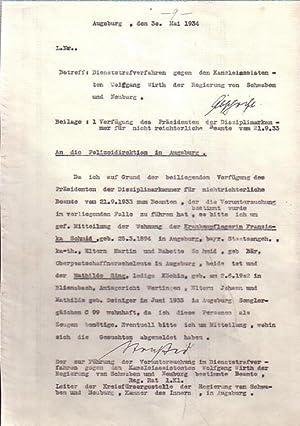 Abschrift: Betrifft: Dienststrafverfahren gegen den Kanzleiassistenten Wolfgang: Wirth -
