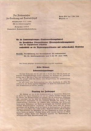 Der Reichsminister für Ernährung und Landwirtschaft, Berlin.: Reichsministerium -