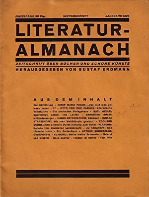 Literatur-Almanach. Zeitschrift über Bücher und schöne Künste.: LiteraturAlmanach. - Erdmann,
