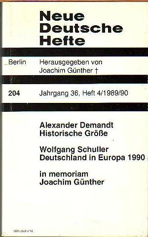 Neue Deutsche Hefte. Jahrgang 36, Heft 4,: Neue Deutsche Blätter.