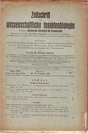 Zeitschrift für wissenschaftliche Insektenbiologie. Band XXVI, Erste: Zeitschrift für wissenschaftliche