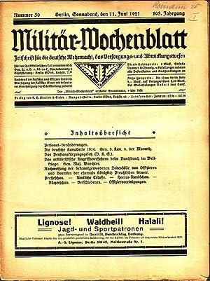 Militär-Wochenblatt. Jahrgang 105, Nummer 50, 11. Juni: MilitärWochenblatt. - C.