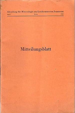 Konvolut: Joanneum - Mineralogisches Mitteilungsblatt, Abteilung für: Joanneum. -