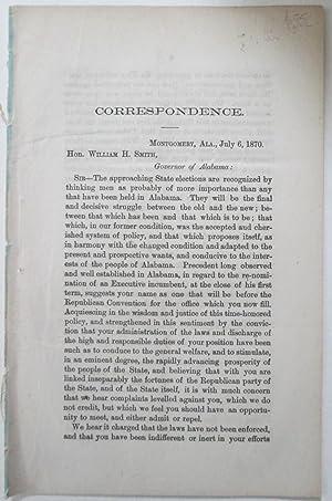 Correspondence. (Caption Title): Smith, William H.; Peters, Thomas M.; White, Alex.