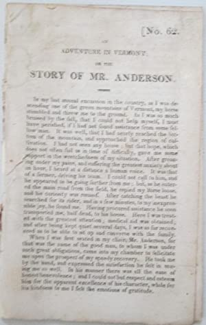 An Adventure in Vermont; or the Story of Mr. Anderson. No. 62.: No author given (Allen, William).