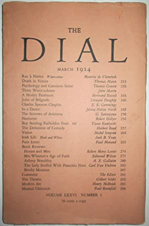The Dial. March 1924. Volume LXXVI Number 3. Including Death in Venice: Mann, Thomas; Russell, ...