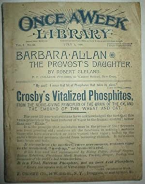 The Provost's Daughter. Once A Week Library. July, 1890. Vol. 1. No. 22.: Cleland, Robert. ...