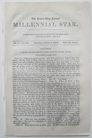 The Latter-Day Saints Millennial Star. Saturday, October 8, 1853. No. 41, Vol. XV: Various Authors