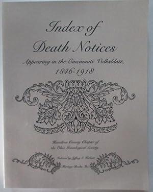 Index of Death Notices Appearing in the Cincinnati Volksblatt, 1846-1918: Herbert, Jeffrey (indexer...
