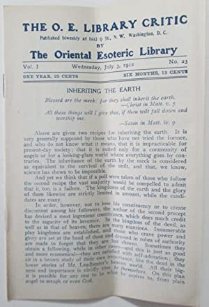 The O.E. Library Critic. Wednesday, July 3, 1912. Vol. I No. 23: Stokes, H.N. (editor).