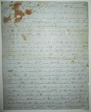 Handwritten letter detailing the medical procedures undertaken to heal an 'ununited fracture of...