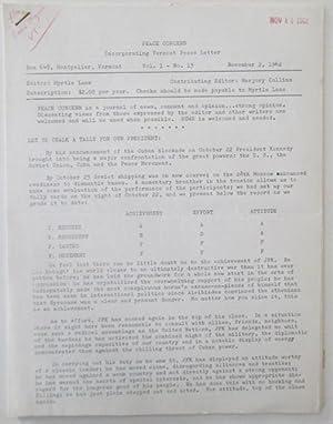 Peace Concern, Incorporating Vermont Peace Letter. Vol. 1 No. 13. November 2, 1962: Lane, Myrtle (...