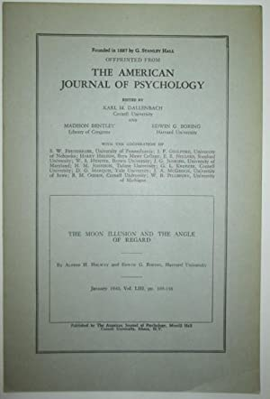 The Moon Illusion and the Angle of Regard. Offprint from the American Journal of Psychology.: ...