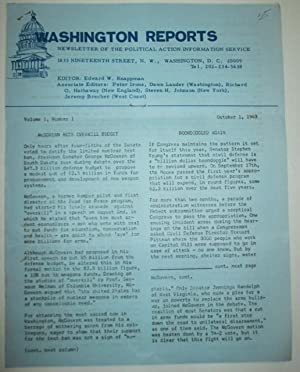 Washington Reports. Newsletter of the Political Action Information Service. Volume 1, Number 1. ...